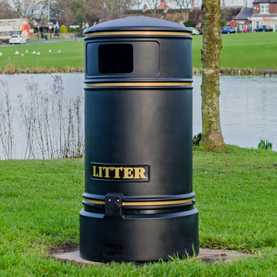 Restricted Aperture Outdoor Litter Bins