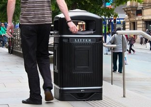 Glasdon Jubilee public litter bin with stubbing plate and silver banding