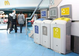 Three Glasdon Nexus 100 bins creating an indoor recycling station to recycle cans, paper and for general waste