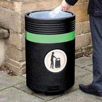 Admiral Litter Bin in a black textured finish and green banding