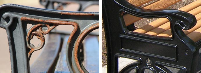 Rusted cast iron seat end vs Glasdon cast aluminium seat end