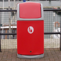 Combo™ Waste Bin in Cool Light Grey with Red Door and Red Aperture Colour