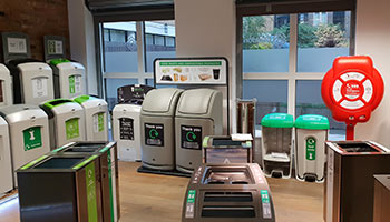Selection of Glasdon recycling bins and lifebuoy housing inside the new showroom in London