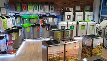 Selection of Glasdon recycling bins inside the new showroom in London