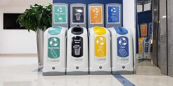 Nexus 50 Recycling Containers sited side-by-side as a recycling bank at Abu Dhabi Ports