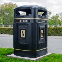 Glasdon Jubilee 240 Wheelie Bin Housing with gold banding and litter legends
