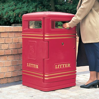 Brunel litter bin in Jubilee Maroon