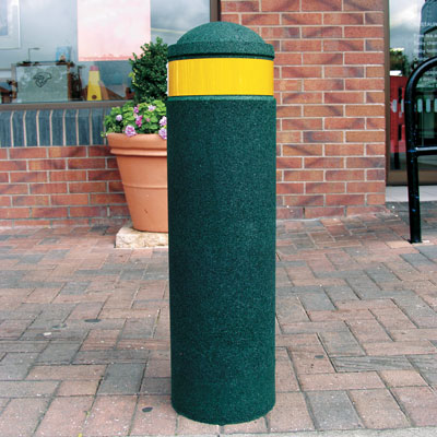 Green 900mm Buffer bollard with amber retroreflective banding
