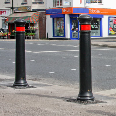 Glasdon Manchester bollard with red retroreflective banding