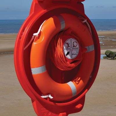Glasdon Lifebuoy stored in a Guardian Lifebuoy Housing