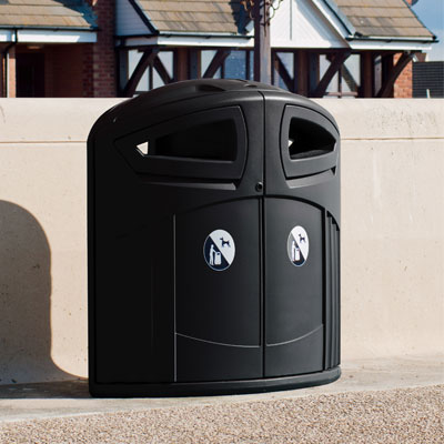 Nexus 200 Litter Bin - Anthracite Grey with Litter/Dog Waste symbol