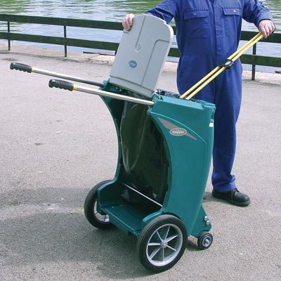 Skipper multi-purpose cleaning trolley with Sack Holder in Deep Green