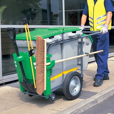 Double Space-Liner litter collection orderly barrow in Light Green