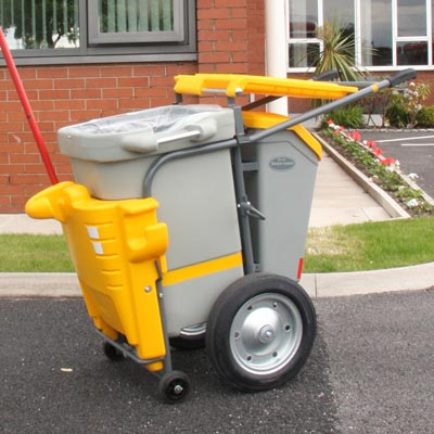 Single Space-Liner litter collection orderly barrow in Yellow