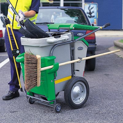 Single Space-Liner litter collection orderly barrow in Light Green