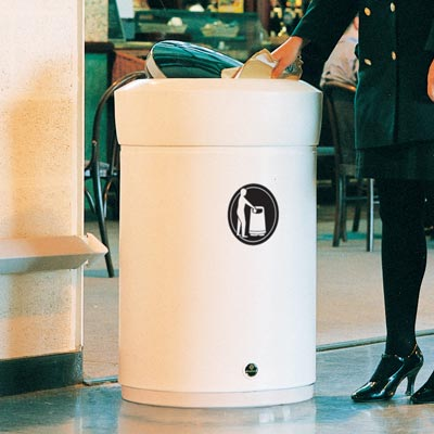 Statesman internal litter bin with chrome flip top - White