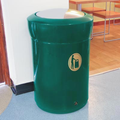 Statesman internal litter bin with chrome flip top - Deep Green