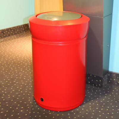 Statesman internal litter bin with chrome flip top - Red