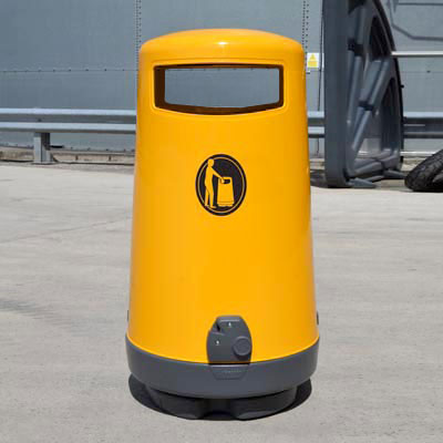 Topsy 2000 litter bin with Aperture Flap in Yellow