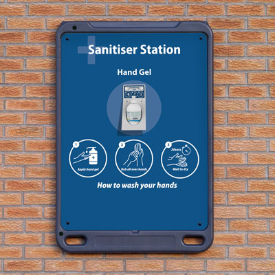 Advocate™ Wall Poster Display Sanitiser Station Sanitiser Station for Hand Gel and Wipes